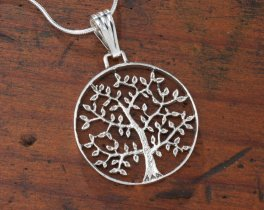 "Sterling Silver Tree Of Life Pendant, Hand Cut Sterling Silver Tree Of Life Medallion, 1"" in Diameter, ( # 912S )"