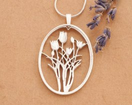"""Sterling Silver Tulip Pendant, Sterling Silver Flower Jewelry, Tulip Jewelry,  Silver Tulip Pendant, 1 3/8"""" long, ( # 795S )"""
