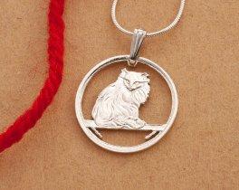"Sterling Silver Turkish Cat Pendant, Hand cut Turkish Cat Jewelry, Sterling Silver Cat Jewelry, 7/8"" in diameter, ( # 665S )"