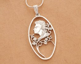"""Sterling Silver Victorian Woman Pendant, Sterling Silver Floral Pendant, Silver Cameo Pendant, 1 1/2"""" long, ( # 611S )"""