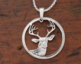 """Sterling Silver White Tail Deer Pendant, Hand Cut Belize 100 Dollar White Tail Deer Coin, Wild Life Jewelry, 1"""" in Diameter, ( # 650S )"""