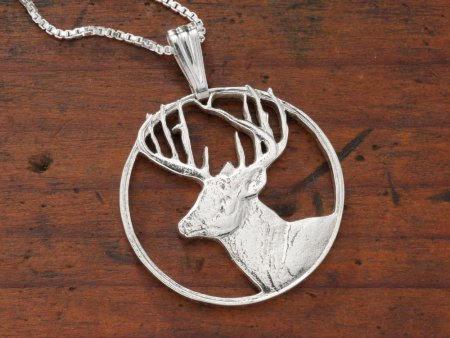 """Sterling Silver White Tail Deer Pendant, Hand Cut Sterling Silver White Tail Deer Medallion, 1 1/8"""" in Diameter, ( # 802S )"""