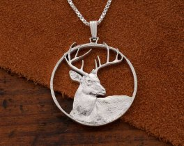 "Sterling Silver White Tail Pendant, Silver Deer Pendant, White Tail Deer Jewelry, Wild Life Jewelry,  1 1/4"" Diameter, ( # 914S )"