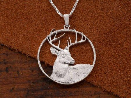 "Sterling Silver White Tail Pendant, Silver Deer Pendant, White Tail Deer Jewelry, Wild Life Jewelry,  1 1/4"" Diameter, ( # 914S )"