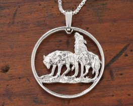 """Sterling Silver Wolf Pendant, Hand Cut Poland Two Zlote Wolf Coin, Wolf Jewelry, 1"""" in Diameter, ( # 723S )"""