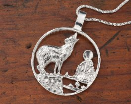 """Sterling Silver Wolf Pendant, Hand Cut Sterling Silver Wolf Medallion, Wild LIfe Jewelry, 1 1/4"""" in Daimeter, ( # 554S )"""