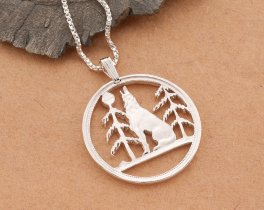 """Sterling Silver Wolf Pendant, Silver Timber Wolf Pendant, Silver Wolf Jewelry, Canada Coin Jewelry, 1 1/8"""" diameter, ( # 56S )"""