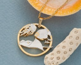 """Sting Ray and Jellyfish Pendant and Necklace, Gibraltar Sea LIfe Coin Hand Cut,14 K Gold and Rhodium Plated 1 1/8"""" in Diameter, ( # 642 )"""