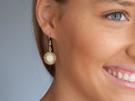 """Sun Face Earrings with French Ear Wires, Argentina 5 peso Coin Hand Cut, 14 Karat Gold and Rhodium plated, 5/8"""" in Diameter, ( # 2E )"""