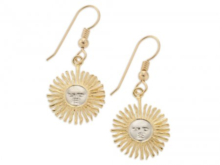 "Sun Face Earrings with French Ear Wires, Argentina 5 peso Coin Hand Cut, 14 Karat Gold and Rhodium plated, 5/8"" in Diameter, ( # 2E )"