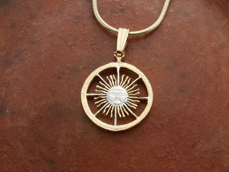 "Sun Face Pendant and Necklace, Argentina 5 Peso Sun Face Coin Hand Cut, 14 Karat Gold and Rhodium PLated, 5/8"" in Diameter, ( # 593B )"