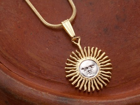 Sun Pendant and Necklace, Astrological Jewelry, Argentina Coin Jewelry, Coin Jewelry, Hand Cuit Coins, Unique Gifts For Her ( # 2 )