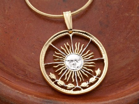 "Sun Pendant and Necklace Jewelry, Argentina Coin Jewelry, Tropical Jewelry, Unique Jewelry, Sunface Necklace,  1"" in Diameter, ( # 4 )"