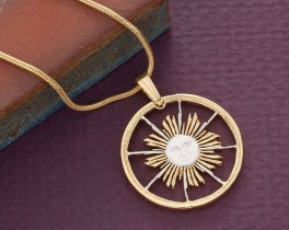 "Sun Pendant and Necklace Jewelry, Peruvian Sun Coin hand Cut, 14 Karat Gold and Rhodium Plated, 7/8"" in Diameter, ( # 253 )"