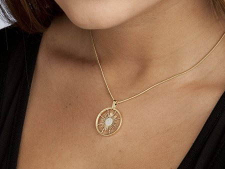 """Sun Pendant and Necklace Jewelry, Peruvian Sun Coin hand Cut, 14 Karat Gold and Rhodium Plated, 7/8"""" in Diameter, ( # 253 )"""