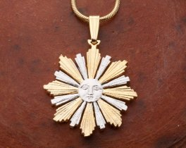 "Sun Pendant and Necklace Jewelry, Uruguay 4 Centavos Sun Coin hand Cut, 14 K and Rhodium Plated, 7/8 "" in Diameter, ( # 594 )"