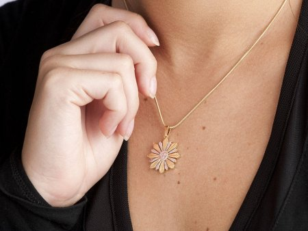 """Sun Pendant and Necklace Jewelry, Uruguay 4 Centavos Sun Coin hand Cut, 14 K and Rhodium Plated, 7/8 """" in Diameter, ( # 594 )"""