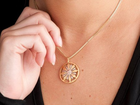 """Sun Pendant and Necklace Jewelry, Uruguay 4 centavos Sun nCoin hand Cut, 14 Karat Gold and Rhodium  Plated, 1"""" in Diameter, ( # 584 )"""