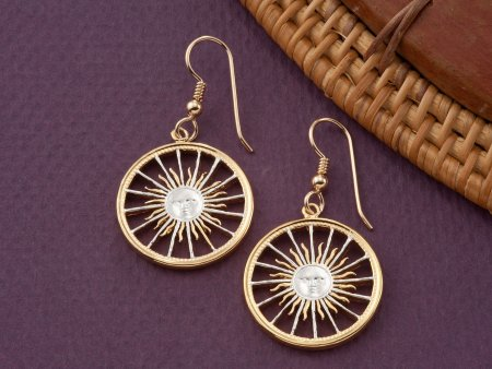 Sunface Earrings, Sunface Jewelry, Womans Earrings, Jewelry For Woman, Jewelry Made From Coins, Coin Earrings, Cut Coin Jewelry, ( # 3E )