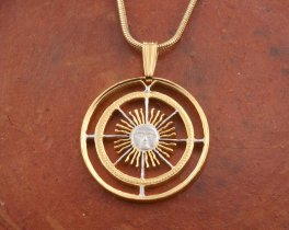 Sunface Pendant , Argentina Coin Jewelry, Astrological Jewelry, Mythical Jewelry, Sun Pendant, Mens Jewelry, Womans Jewelry, ( # 593 )