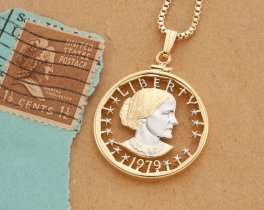 "Susan B Anthony Pendant, Hand cut United States Susan B Anthony One Dollar,  United States Coin Jewelry, 1 1/8"" in Diameter, ( # SBW )"