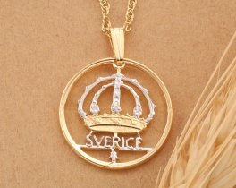 Swedish Coin Jewelry, Swedish Necklace, Swedish Gift Ideas, Ethnic Coin Jewelry, International Jewelry, Womans Gifts, Coin Jewelry, (#366)