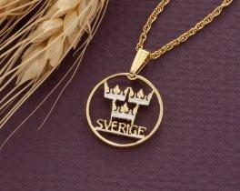 Swedish Coin Pendant. Swedish Coin Jewelry, Swedish Crown Pendant, Sweden Coin Jewelry, World Coin Jewelry, Coin Pendants, ( # 286 )