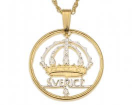 "Swedish Crown Pendant and Necklace, Sweden 50 Ore Coin hand Cut, 14 Karat Gold and Rhodium plated, 7/8"" in Diameter, ( # 366 )"