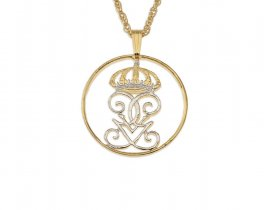 "Swedish Crown Pendant and Necklace, Sweden Five Ore Crown Coin hand Cut, 14 Karat Gold and Rhodium plated, 1"" in Diameter, ( # 284 )"