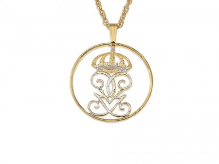 """Swedish Crown Pendant and Necklace, Sweden Five Ore Crown Coin hand Cut, 14 Karat Gold and Rhodium plated, 1"""" in Diameter, ( # 284 )"""