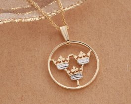 """Swedish Crown Pendant and Necklace, Swedish Two Ore 3 Crown coin Hand cut, 14 Karat Gold and Rhodium plated, 3/4"""" in Diameter, ( # 287 )"""