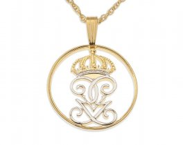 """Swedish Crown Pendant and Necklacem Sweden Two Ore Coin Hand Cut, 14 Karat Gold and Rhodium plated, 7/8"""" in Diameter, ( # 282 )"""