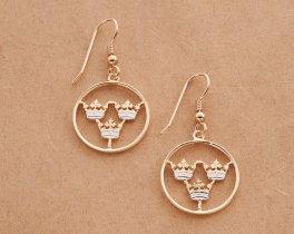 Swedish Earrings, Swedish Coin Jewelry, Sweden Earrings, Jewelry For Woman, Cut Coin Jewelry, Etsy Jewelry, Crown Earrings, ( # 287E )