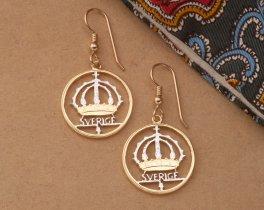 Swedish Earrings, Swedish Coin Jewerly, Ethnic Earrings, Coin Earrings, Womans Gift Ideas, Cut Coin Jewelry, Jewelry For Woman, ( # 366E )