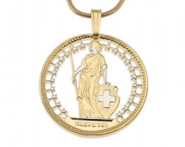 """Switzerland Pendant and Necklace, Swiss Two Frank Coin Hand Cut, 14 Karat Gold and Rhodium plated, 1"""" in Diameter, ( # 293 )"""