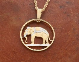 "Thailand Elephant Pendant and Necklace, Thailand Elephant Coin Hand Cut, 14 K Gold and Rhodium plated, 3/4"" in Diameter, ( # 297 )"