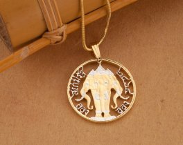 """Thailand Elephant Pendant and Necklace, Thailand Elephant Coin Hand Cut, 14 Karat Gold and Rhodium Plated, 7/8"""" in Diameter, ( # 897 )"""