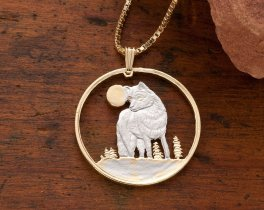 """Timber Wolf Pendant and Necklace, Canadian Five Dollar Wolf Coin Hand Cut, 14 Karat Gold and Rhodium Plated, 1 1/8"""" in Diameter, ( # 925 )"""