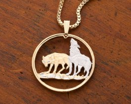 """Timber Wolves Pendant & Necklace, Polish two Zlotych Coin Hand Cut, Plated in 14 Karat Gold and Rhodium, 1 """" in Diameter, ( # 723 )"""