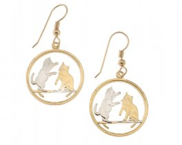 "Tokinese Cat Earrings, Isle of Man Cat Coin Hand Cut, 14 K Gold and Rhodium plated, 7/8"" in Diameter, 14 K G/F Ear Wires, ( # 803E )"