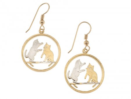 """Tokinese Cat Earrings, Isle of Man Cat Coin Hand Cut, 14 K Gold and Rhodium plated, 7/8"""" in Diameter, 14 K G/F Ear Wires, ( # 803E )"""