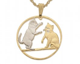 "Tonkinese Cat Pendant and Necklace, Isle Of Man Cat Coin Hand Cut, 14 Karat Gold and Rhodium Plated, 1 3/8"" in Diameter, ( # 848 )"