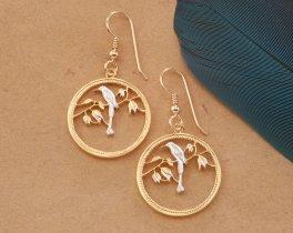 Tropical Bird Earrings, Bird Earrings, Belize Coin Jewelry, Bird Jewelry, World Coin Jewelry, Tropical Jewelry, Jewelry For Woman, ( # 30E )