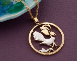 "Tropical Bird Pendant, Tropical Bird Jewelry, Bird Jewelry, World Coin Jewelry, 1 1/8"" in diameter, ( # 449D )"