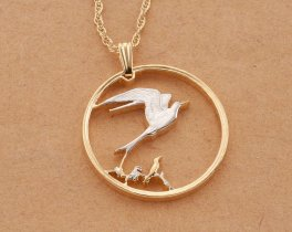 "Tropical Bird Pendant, Tropical Bird Jewelry, Bird Pendant, Bird Jewelry, 1"" in diameter, ( # 712D )"