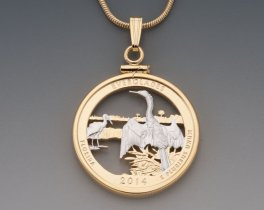 Tropical Birds Pendant, Hand Cut Everglades National Park State Quarter, 14 Karat Gold and Rhodium Plated, ( # 2053 )