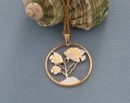 """Tropical Fish Pendant and Necklace Jewelry, Cayman Island Fish Coin hand Cut, 14 Karat Gold and Rhodium Plated, 1 """" in Diameter, ( # 60 )"""