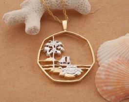 "TRopical Pendant, Tropical Island Jewelry, Sea Turtle Pendant, Sea Turtle Jewelry, World Coin Jewelry, 1 1/8"" in diameter, ( # 274D )"