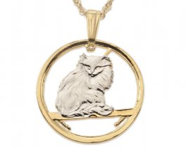 Turkish Cat Pendant and Necklace Jewelry, Isle Of Man Cat Coin hand Cut, 14 Karat Gold and Rhodium Plated, 7/8 Inch in Diameter, ( # 665 )