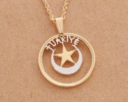 "Turkish Pendant, Hand cut Turkish Moon and Stars coin, Turkish coin jewelry, 7/8 "" in diameter, ( # 867 )"